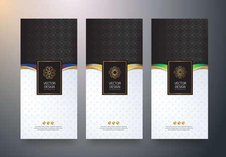 Vector set verpakking sjablonen zwarte gouden etiketten en frames voor luxe producten in trendy lineaire stijl, banner, tag, identiteit, branding, vectorillustratie