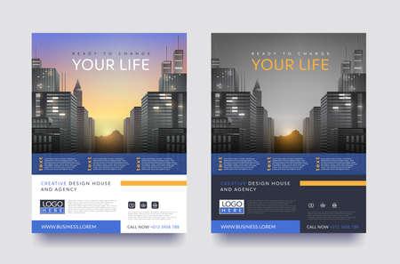 ポスター ・ フライヤー ・ パンフレット パンフレット カバー デザイン レイアウト空間の写真の背景、ベクトル テンプレート A4 サイズの  イラスト・ベクター素材