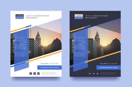 poster flyer pamphlet brochure cover design layout space for photo design, vector template in A4 size Vettoriali