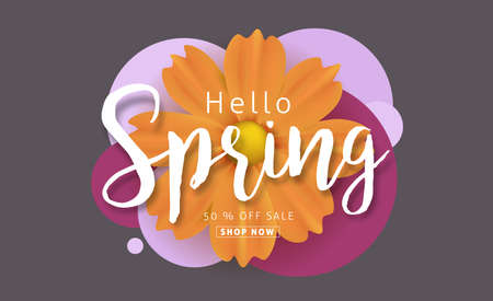 spring: Spring sale background with beautiful colorful flower. Vector illustration.banners.Wallpaper.flyers, invitation, posters, brochure, voucher discount.