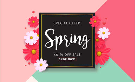 spring sale: Spring sale background with beautiful colorful flower. Vector illustration.banners.Wallpaper.flyers, invitation, posters, brochure, voucher discount.