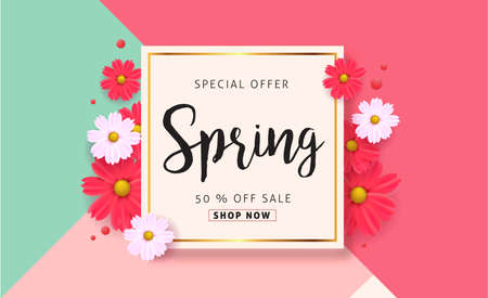 Spring sale background with beautiful colorful flower. Vector illustration.banners.Wallpaper.flyers, invitation, posters, brochure, voucher discount. 版權商用圖片 - 71270566