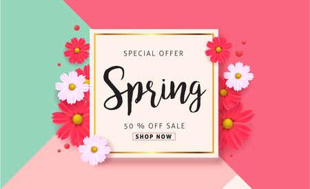 Spring sale tło z pięknym kolorowym kwiatem. illustration.banners.Wallpaper.flyers wektorowe, zaproszenia, plakaty, broszury, kupon rabatu.