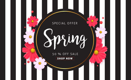 discount banner: Spring sale background with beautiful colorful flower. Vector illustration.banners.Wallpaper.flyers, invitation, posters, brochure, voucher discount.