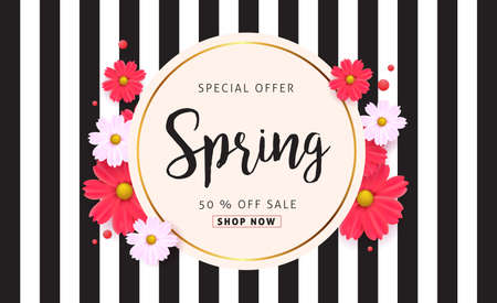Spring sale background with beautiful colorful flower. Vector illustration.banners.Wallpaper.flyers, invitation, posters, brochure, voucher discount. Zdjęcie Seryjne - 71270578