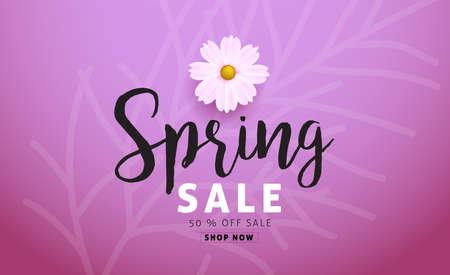 Spring sale fond avec une belle fleur colorée. illustration.banners.Wallpaper.flyers Vector, invitation, affiches, brochures, bon de réduction.