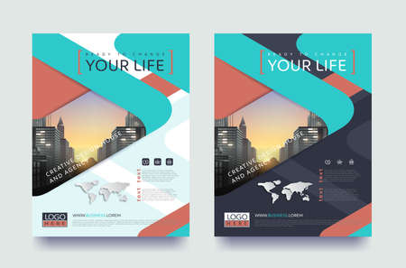 poster flyer pamphlet brochure cover design layout space for photo background, vector template in A4 size Çizim