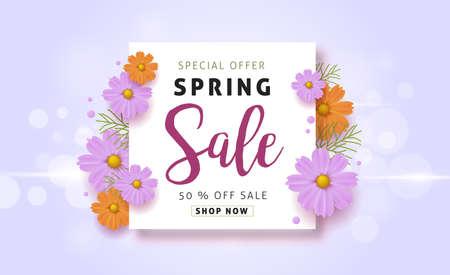 Spring sale achtergrond met mooie kleurrijke bloem. Vector illustration.banners.Wallpaper.flyers, uitnodiging, posters, brochure, voucher korting.