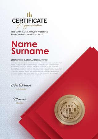 Vorlage Zertifikat mit sauberen und modernen Muster, Luxury golden, Qualifizierungs-Zertifikat leere Vorlage mit elegant, Vektor-Illustration Standard-Bild - 73086830