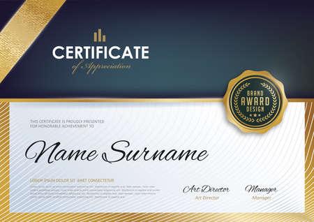 Zertifikatschablone mit sauberem und modernem Muster, Luxusgoldene, leere Schablone des Qualifikationszertifikats mit elegantem, Vektorillustration Standard-Bild - 73170301