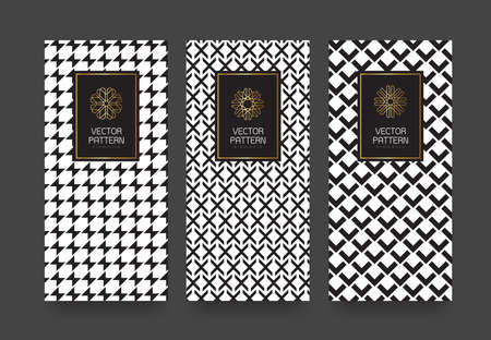 Vector set packaging templates black and white geometric pattern for luxury products.logo design with trendy linear style.vector illustration