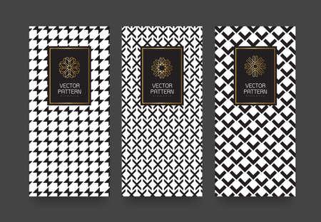 트렌디 한 선형 style.vector 일러스트와 함께 고급 products.logo의 디자인을위한 벡터 세트 포장 템플릿은 흑백 기하학적 패턴 일러스트