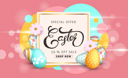 Easter sale banner background template with beautiful colorful spring flowers and eggs. Vector illustration. Çizim