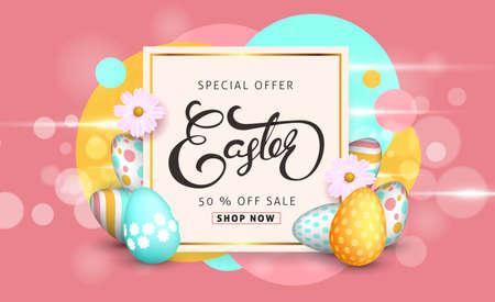 Easter Sale banner tła szablonu z pięknych kolorowych wiosennych kwiatów i jaj. ilustracji wektorowych. Ilustracje wektorowe