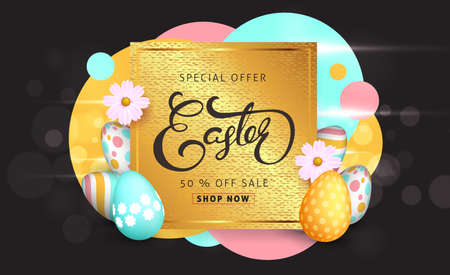 Easter sale banner background template with beautiful colorful spring flowers and eggs. Vector illustration. Illustration