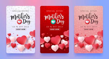 Moeders dag verkoop patroon lay-out met hartvormige ballonnen voor banners, behang, flyers, uitnodiging, posters, brochure, bon korting. Vector illustratie sjabloon.
