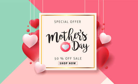 Mothers day sale background poster banner with beautiful colorful flower. Vector illustration.