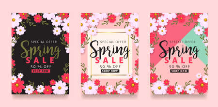 Spring sale background poster with beautiful colorful flower. Vector illustration. Çizim