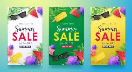Layout de fundo de venda de verão para banners, papéis de parede, folhetos, convites, cartazes, folhetos, desconto de vouchers. Modelo de ilustração do vetor. Ilustración de vector