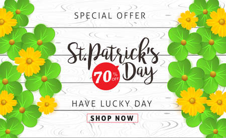 Happy Saint Patricks Day of banner sale vector pattern with lettering and clover leaves. Vector illustration.Advertising of St. Patricks day. Illustration