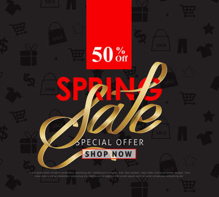 Spring sale background layout with premium golden ribbon font design for banners,Wallpaper,flyers, invitation, posters, brochure, voucher discount.Vector illustration template. Illustration