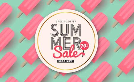 frutas divertidas: Diseño de patrón de venta de verano para banners, papel tapiz, volantes, invitación, carteles, folleto, bono discount.Vector ilustración plantilla.