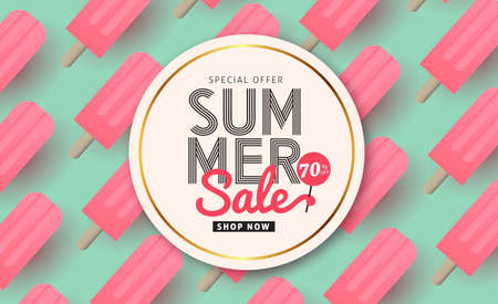 Zomer verkoop patroon lay-out voor banners, Wallpaper, flyers, uitnodiging, posters, brochure, voucher discount.Vector illustratie sjabloon. Stock Illustratie