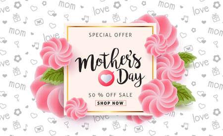 아름 다운 화려한 꽃과 함께 어머니 날 판매 배경 포스터 배너입니다. 벡터 일러스트 레이 션.