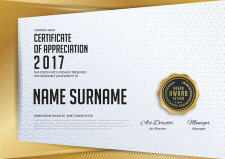 Certificate template with luxury and modern pattern,diploma,Vector illustration  イラスト・ベクター素材