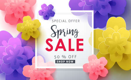 flower layout: Spring sale pattern layout with beautiful colorful flower for banners,Wallpaper,flyers, invitation, posters, brochure, voucher discount.Vector illustration template.