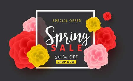 Spring sale background poster banner with beautiful colorful flower. Vector illustration.