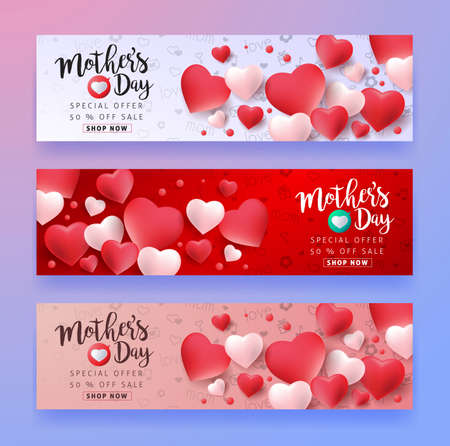 Mothers day sale background layout with Heart Shaped Balloons for banners,Wallpaper,flyers, invitation, posters, brochure, voucher discount.Vector illustration template.