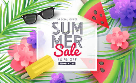 Summer sale background layout for banners,Wallpaper,flyers, invitation, posters, brochure, voucher discount.Vector illustration template. 免版税图像 - 74287293