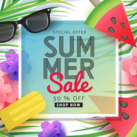 Summer sale background layout for banners, Wallpaper,flyers, invitation, posters, brochure, voucher discount.Vector illustration template.  イラスト・ベクター素材