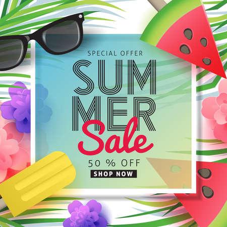 Layout di vendita di vendita di estate per banner, carta da parati, volantini, invito, manifesti, brochure, voucher discount.Vector illustrazione modello.