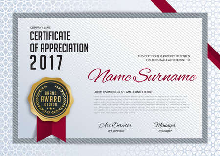 luxury template: certificate template with luxury and modern pattern,diploma,Vector illustration Illustration