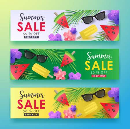 Diseño de fondo de venta de verano para banners, papel tapiz, volantes, invitación, carteles, folleto, bono discount.Vector ilustración plantilla.