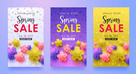 flower layout: Spring sale background layout with beautiful colorful flower for banners,Wallpaper,flyers, invitation, posters, brochure, voucher discount.Vector illustration template.