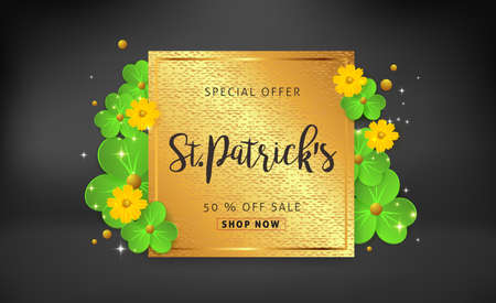 Happy Saint Patricks Day of banner sale vector background with lettering and clover leaves. Vector illustration.Advertising of St. Patricks day. Illustration