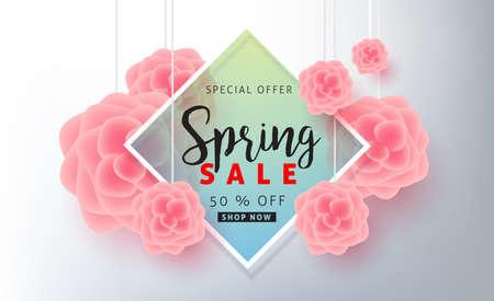 Fondo de venta de primavera banner de póster con hermosa flor de colores.