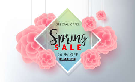Spring sale background poster banner with beautiful colorful flower.