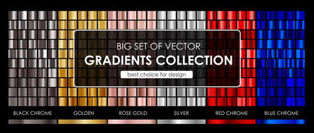 Vector big set of vector gradients collection.Collection metallic golden,rose gold,silver,black chrome,red chrome and blue chrome gradients background texture.vector illustration.