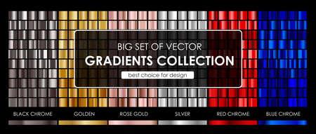 벡터 벡터 그라디언트 컬렉션의 큰 집합입니다. 컬렉션 금속 황금, 로즈 골드, 실버, 블랙 크롬, 레드 크롬 및 블루 크롬 그라데이션 배경 texture.vector 그