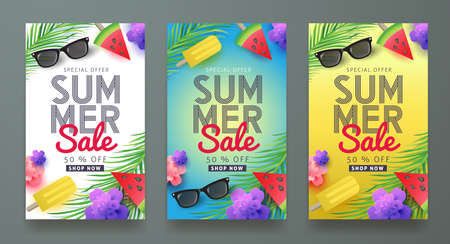 Summer sale background layout for banners, Wallpaper, flyers, invitation, posters, brochure, voucher discount.Vector illustration template. 矢量图像