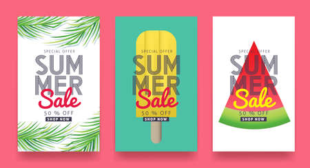 Summer sale background layout for banners, Wallpaper, flyers, invitation, posters, brochure, voucher discount.Vector illustration template. Vettoriali