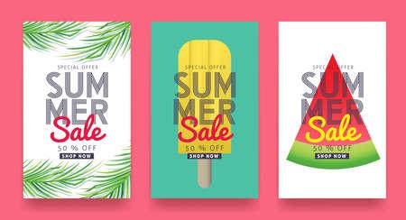 Zomer verkoop achtergrond lay-out voor banners, behang, flyers, uitnodiging, posters, brochure, voucher korting. Vector illustratie sjabloon.
