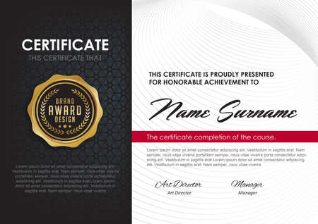 Certificate template with luxury and modern pattern,diploma,Vector illustration Ilustração