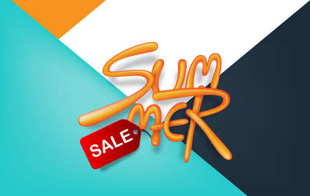Colored Summer sale background layout with balloon font design for banners,Wallpaper,flyers, invitation, posters, brochure, voucher discount.Vector illustration template.