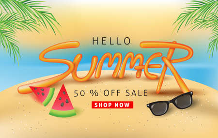 Summer sale background layout with balloon font design for banners,Wallpaper,flyers, invitation, posters, brochure, voucher discount.Vector illustration template.