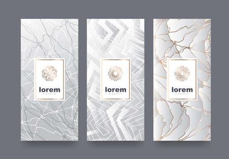 Een vector vastgestelde verpakkingssjablonen met verschillende textuur voor luxeproducten logboekontwerp met in lineaire stijl Vector illustratie